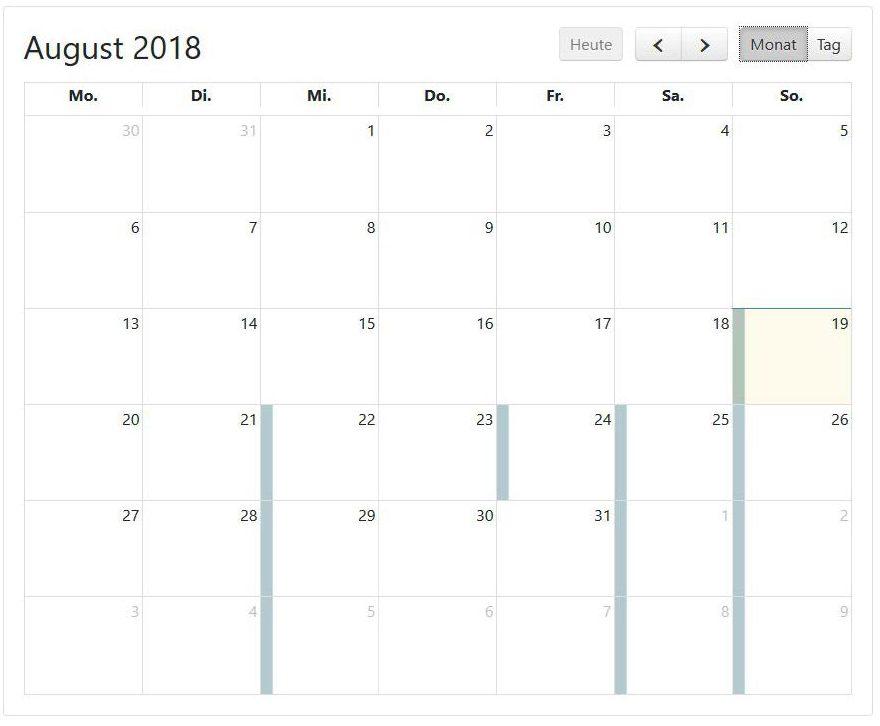 Gebetskalender Monatsansicht